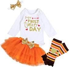 My First Thanksgiving Newborn Baby Girls Long Sleeve Clothes Print Romper Top Tutu Skirt with Leg Warme Headband Outfit Set