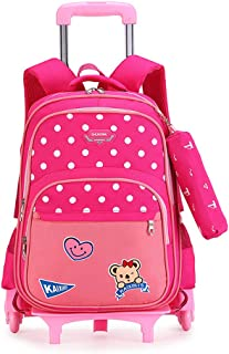 Trolley Bag Children's Pulley Removable Backpack 6 Wheels Dual Purpose Suitable for Grade 1-5 Primary School Students
