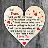 Resmoni I Love You Mum - Handmade Wooden Perfect Hanging Heart Plaque-Sign Gift for Your Best Friendship