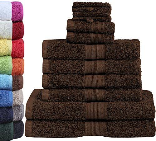 GREEN MARK Textilien 10 TLG. FROTTIER Handtuch-Set mit verschiedenen Größen 4X Handtücher, 2X Duschtücher, 2X Gästetücher, 2X Waschhandschuhe | Farbe: Schoko braun | Premium Qualität