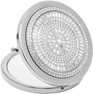 Vanity Mirror Portable Makeup Mirror 180 Degree Folding Design Hand-Set Crystal Diamond Face Metal HD for Family