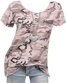 Womens Short Sleeve Camo Shirt Round Neck Camoflauge Tshirts