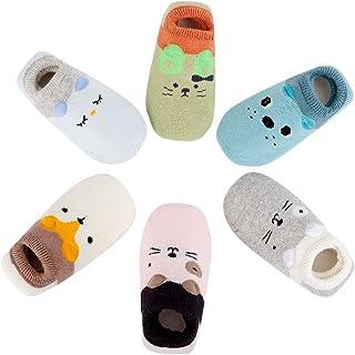 6 Pares Calcetines Bebe Niña Niño Antideslizantes Animal Lindo Recien Nacido Calcetines Gruesos de Algodón para Invierno
