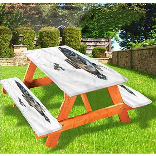 LEWIS FRANKLIN Cortina de ducha Zeppelin Picnic mesa y bancos, mantel de fantasía con borde elástico, 70 x 72 pulgadas, juego de 3 piezas para viajes, Navidad, picnic, fiestas al aire libre