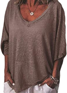 GUOCAI Womens Batwing Sleeve Tops Autumn Loose V-Neck Casual T-shirt