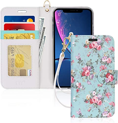 "FYY Luxury PU Leather Wallet Case for iPhone Xr (6.1"") 2018, [Kickstand Feature] Flip Folio Case Cover with [Card Slo..."