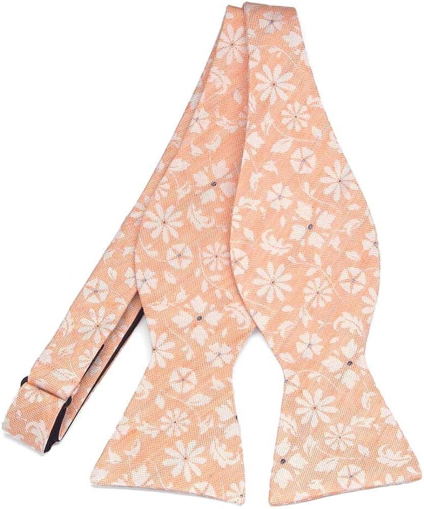 TieMart Regent Morris Neckwear Peach Majesty Floral Linen/Silk Self-Tie Bow Tie