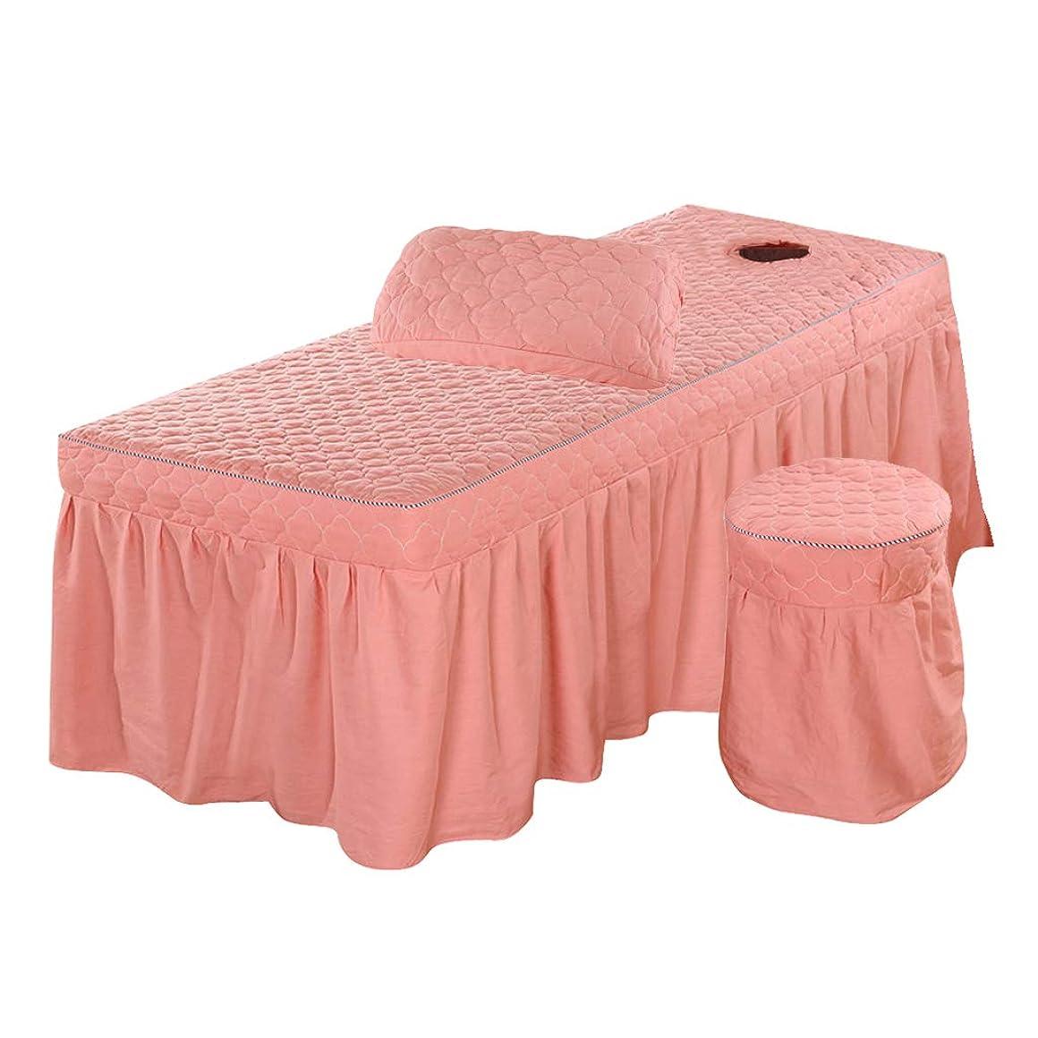 病者白い平日3点セット 美容ベッドスカート 有孔 スツールカバー 枕カバー付き 通気性 - ピンク