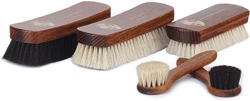 Langer & Messmer kit de cirage et polissage chaussures avec 5 brosses en crin de cheval et poil de chèvre