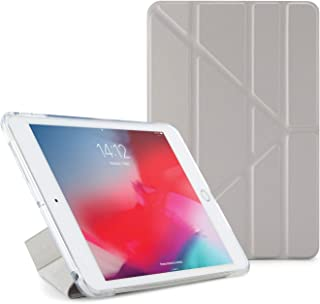 PIPETTO iPad Mini 5 (2019) / Mini 4 TPU Metallic Origami Silver/Clear Slim Translucent Case with 5-in-1 Stand Positions for Apple iPad with Smart Cover Auto Sleep/Wake Function