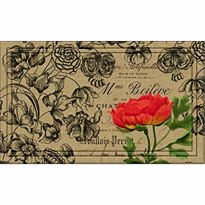 Naturelles Vintage Floral Peony Door Mat, 18-Inch by 30-Inch