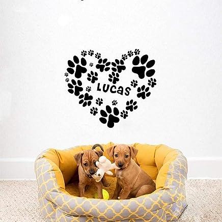 Handaxian Perro Personalizado Personalizado Nombre Perrito con el corazón Personalizado Pegatinas de Pared de Vinilo calcomanías