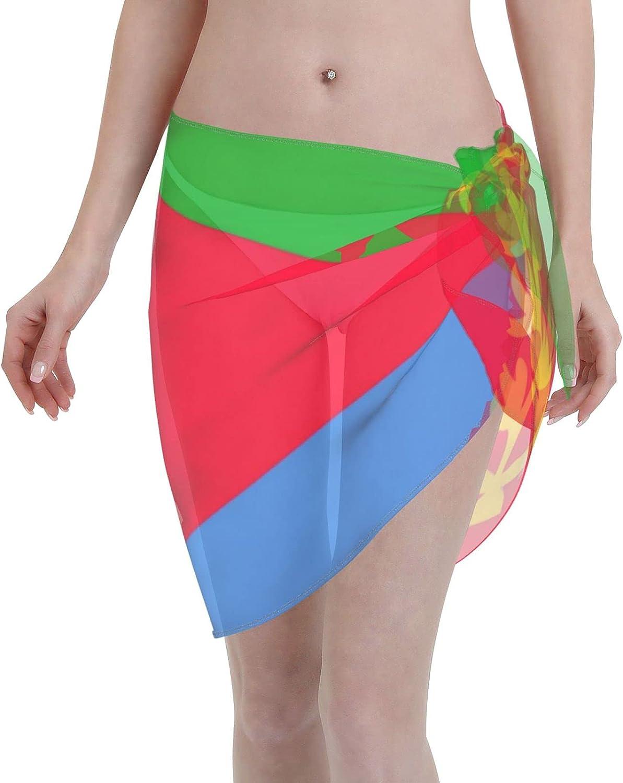 Eritrea Flag Women Short Sarongs Beach Wrap, Beach Cover-Ups High Waisted Wrap Skirt with Slit,Sexy Sheer Swimsuit Bikini Wraps Chiffon,Soft Scarf for Swimwear Black