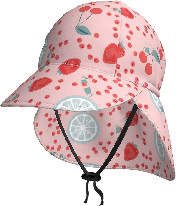 Fruit Strawberry Lemon Max 43% OFF Cherry Kids Detroit Mall Sun Flap Hat with Summer Neck