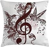 Funda de cojín para cojín musical, diseño floral con clave de sol y arte de rrows de pájaros voladores cantando, funda de almohada decorativa cuadrada decorativa, blanco castaño , (18 'x18' / 45x45cm)