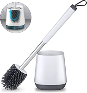 POPTEN Toilet Brush and Holder Set for Bathroom with Aluminum Handle & Soft Silicone Bristle Sturdy Cleaning Toilet Bowl Brush Set Cleaner for Bathroom Storage and Organization – White