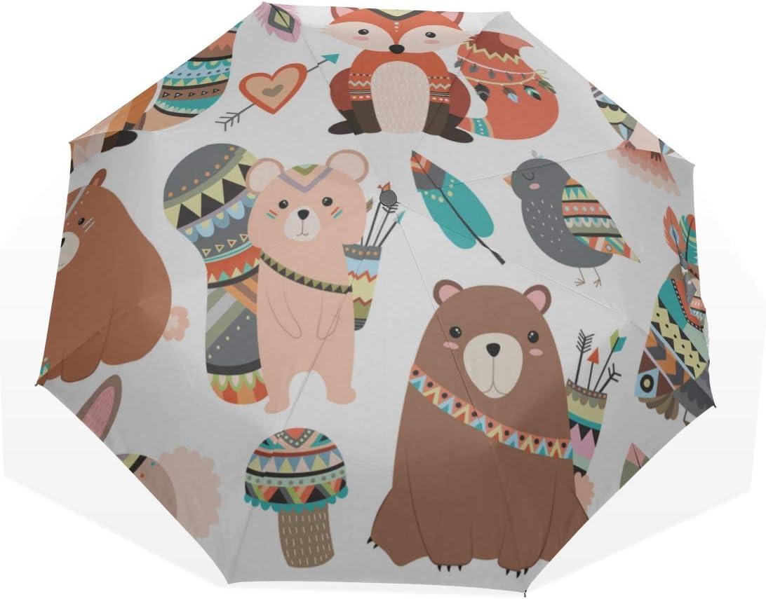 Boys Rain Umbrella Forest Animals Cute 3 Cheap mail order sales Umbrell New York Mall Art Fold Lovely