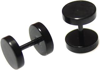 10mm par negro farsante Camilla Tramposo para mujer para hombre de acero inoxidable con perforaciones en