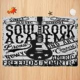 Alfombra de baño Antideslizante,Retro, Soul Rock Academy Theme Music School Guitarra eléctrica Póster de la Libertad como Imagen, Apto para Cocina, salón, Ducha (50x80 cm)