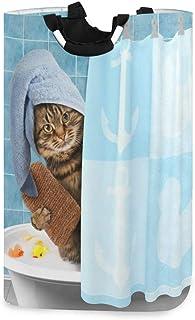 Chat drôle prenant le bain Panier à linge Panier à linge pliable Sac à linge en tissu Oxford Grand panier de rangement ave...