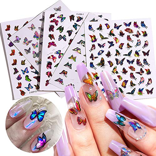 12 Sheets Holographic Butterfly Nail Stickers Self Adhesive,Laser Nail Decals for Women,Colorful Butterfly Nail Art Decoration