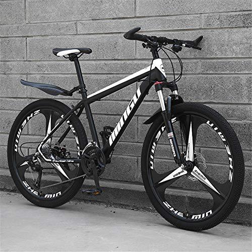 Bicicleta De Montaña Para Adultos, Bike Con Ruedas De 24/26 Pulgadas Bicicletas Outroad De Acero Alto Contenido Carbono Bicicleta De Montaña Con Asiento Ajustable, 21 Velocidades,Black+white,26 inches