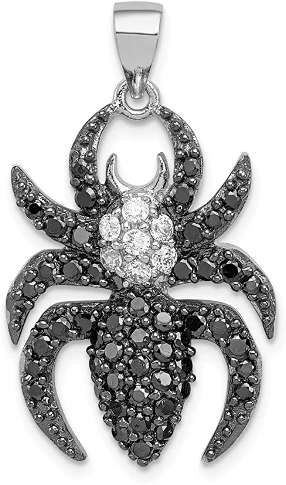 Sterling Silver Black White overseas Spider CZ Sales for sale Pendant