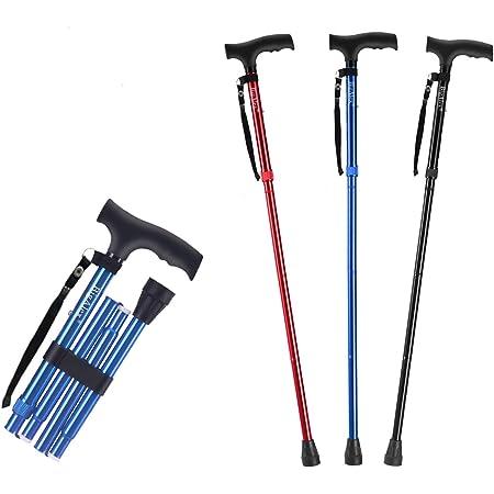 ビグアレクス(BigAlex)折り畳み杖 ステッキ 軽量 アルミ 長さ調整可能 歩行支援 夜間散歩 75-85cm(ブルー)
