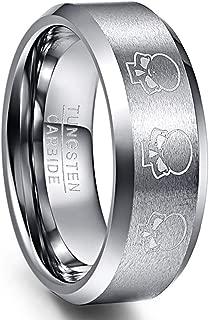 8mm Skull Pattern Tungsten Carbide Rings for Men Matte Finish Wedding Band Beveled Edge Comfort Fit Size 7-12