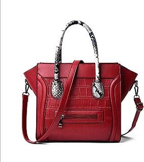 Leather shoulder bag, simple messenger bag, large capacity wild bag, pu handbag, adjustable shoulder strap, a variety of colors to choose from, portable (Color : Red, Size : One size)