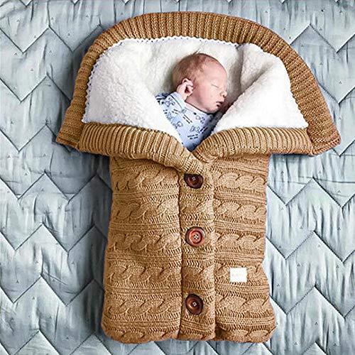 Northerncold Babyschlafsack Einstellbar Neugeborene,Kinderwagenschlafsack, Outdoor-Knopf gestrickt Wolldecke-Khaki,Wattiert Babyschlafsack