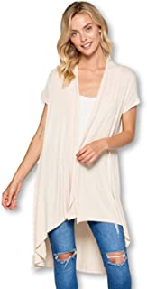 Soft Bamboo Open Front Short Sleeve Cardigan Sweater for Women -Made in USA