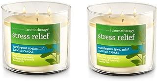 Bath & Body Works, Aromatherapy Stress Relief 3-Wick Candle, dfrDhp, 2 Pack (Eucalyptus Spearmint)