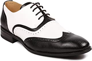 MC113 Men's Wing Tip Perforated Lace Up Oxford Dress Shoes