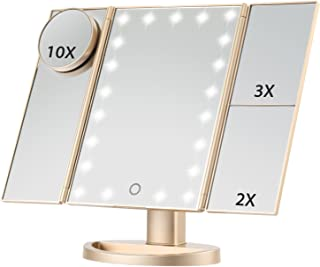 Magicfly Lighted Makeup Mirror, 10X 3X 2X 1X Magnifying Vanity Mirror with Lights, 21 LED Tri-Fold Mirror with Touch Screen, Stand & Brightness Adjustable, Travel Magnifying Mirror, Gold