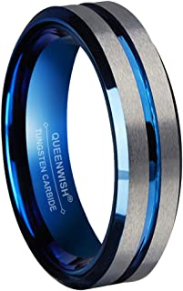 Queenwish 6mm Blue Tungsten Wedding Bands Silver Brushed Engagement Couples Rings Comfort Fit Size 5-13