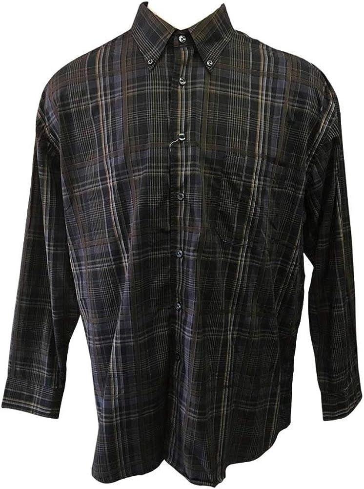 Big 1X Long Sleeve All Cotton Grey Plaid Shirt