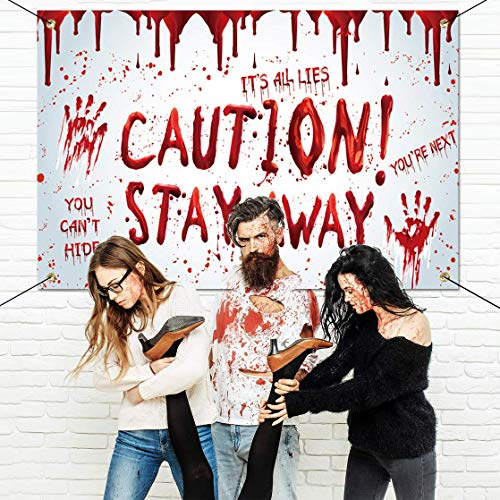 Chokeberry Halloween Decorations Outdoor - Caution! Stay Away, Creepy Halloween Decor Large Banners, Bloody Backdrop Banner for Indoor Home Front Door Wall, 600D Fabric Party Decorations