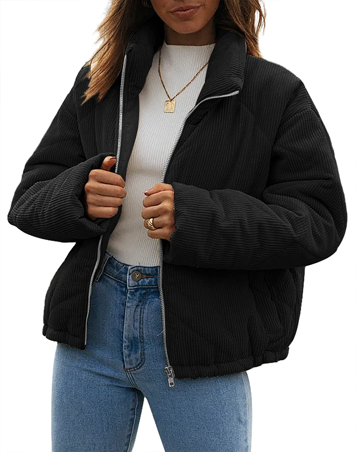 Womens Quilted Jacket Zip Up Long Sleeve Cozy Solid Color Comfortable Coat with Pockets