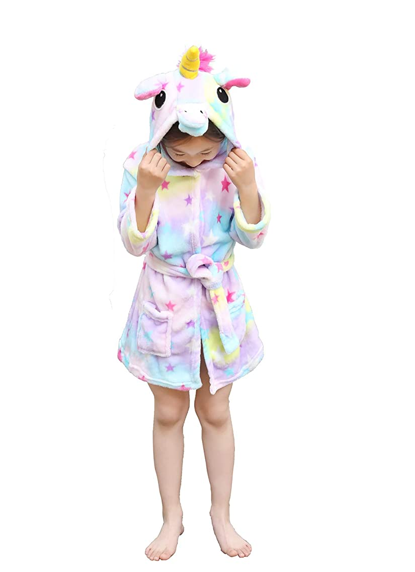 Unisex Kids Bathrobes Unicorn Animal Hooded Fleece Sleepwear Robe for Children's Gift