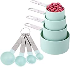 طقم اكواب وملاعق قياس من بلاستيكية قابلة للتكديس مع مقابض ستانلس ستيل للطهي والخبز - 8 قطع (اخضر فضي)