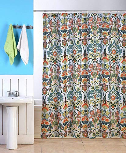 """Emery Fabric Shower Curtain, 70""""x70"""", Colorful Floral Geometric Printed Design"""