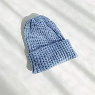 OULUOBA Knitted wool hat female autumn and winter Korean wild lovely outdoor leisure tide male Korean ins ear hats (Color : Light blue, Size : One size)
