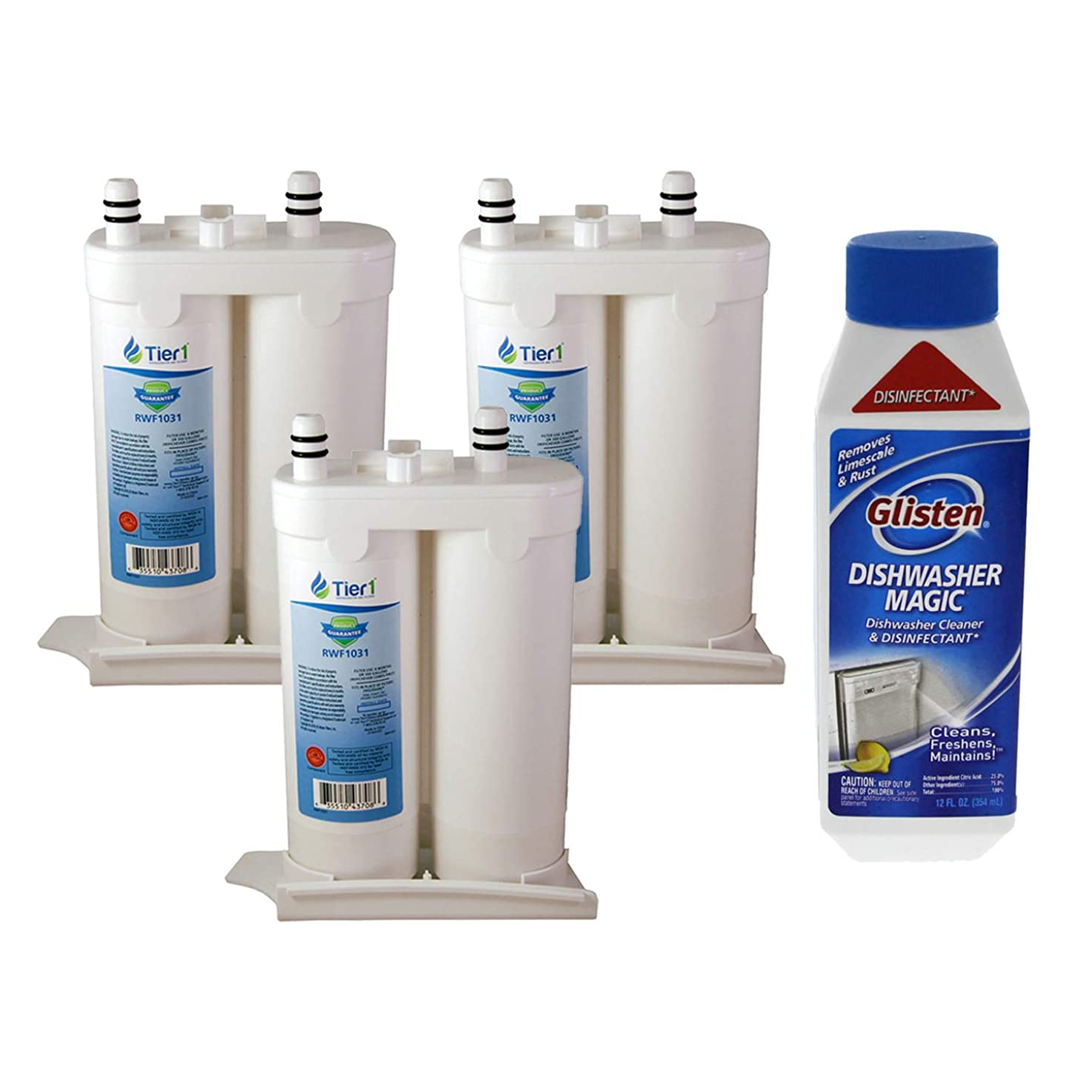 Tier1 Replacement for Frigidaire WF2CB Electrolux NGFC 2000, 1004-42-FA, 469911, 469916, FC 100 Refrigerator Water Filter and DM06N Glisten Dishwasher Magic Dishwasher Cleaner Bundle (3 Pack)