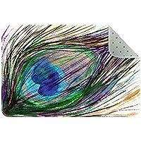 エリアラグ軽量 手描きの孔雀の羽 フロアマットソフトカーペットチホームリビングダイニングルームベッドルーム