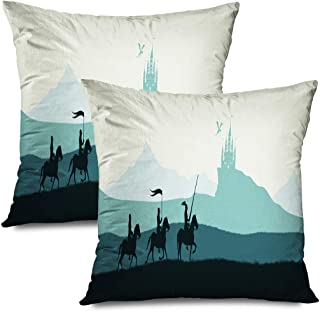 Ahawoso Set of 2 Throw Pillow Covers Square 20x20 Soldier Black Silhouette Knights Sword Adventure On Chivalry Power History Battle Castle Textures Zippered Pillowcases Home Decor Cushion Cases