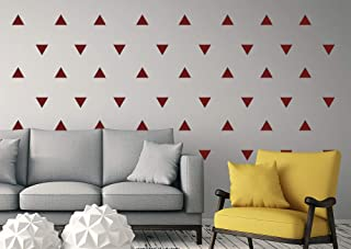 Triangle Wall Decals Set, Peel and Stick, Easy To Remove (Set of 99 Triangle Decals) WallTribe (Red)