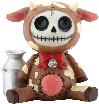 Furry Bones Moo-Moo Brown Holding Milk Figurine