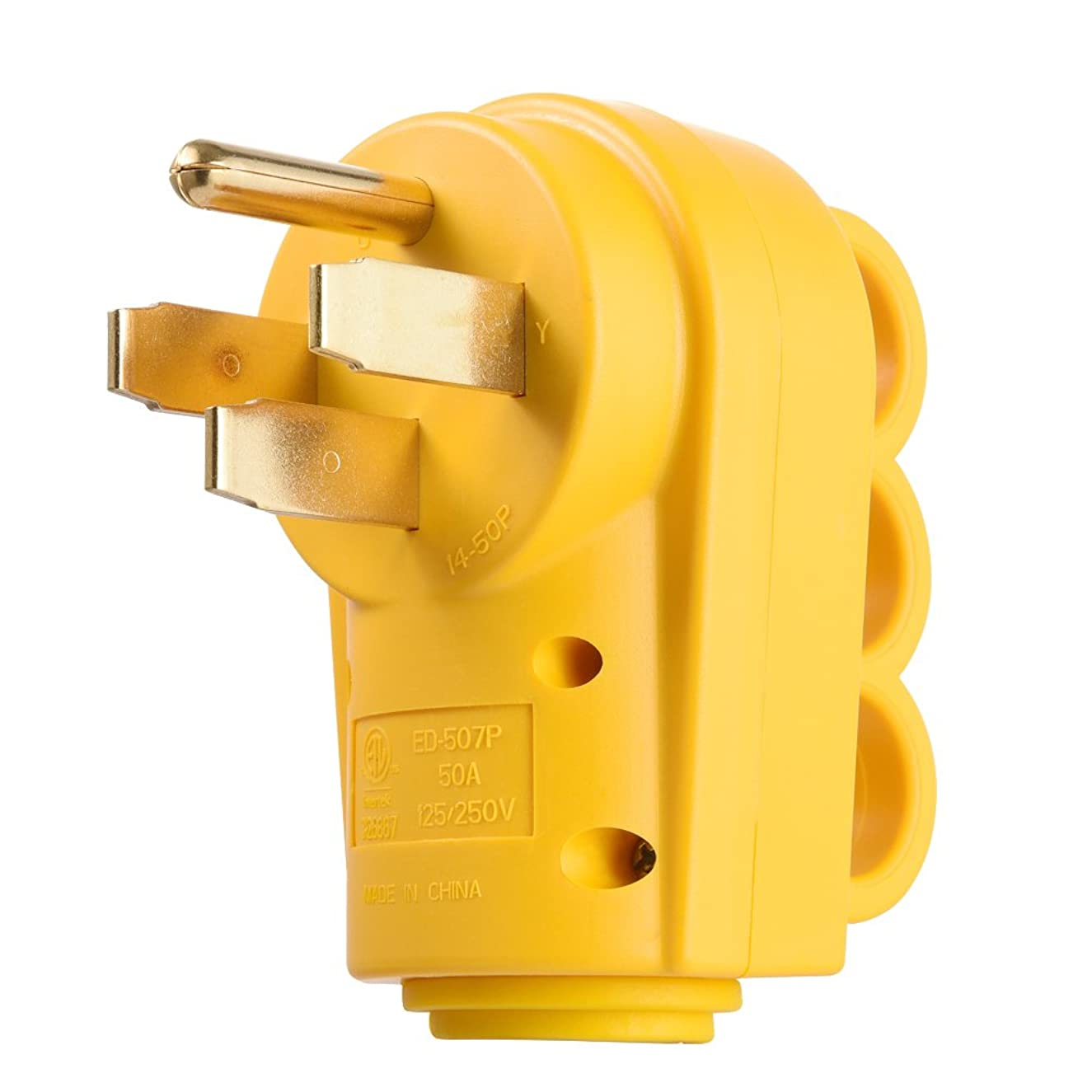 MICTUNING 125/250V 50Amp Heavy Duty RV Replacement Male Plug with Ergonomic Grip Handle, Yellow
