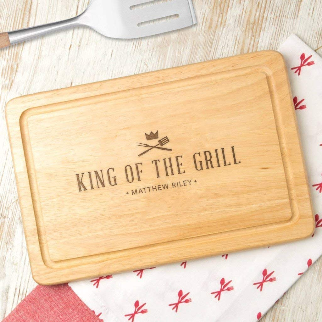 Personalized 'King Under blast sales of the Grill' Wooden Cutting gift Board Bbq Gril -